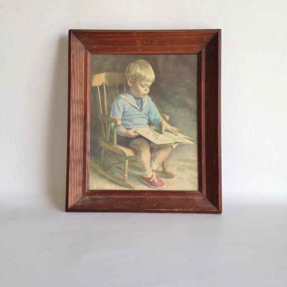 Gary Vintage Art Print By J Ingwersen Little Boy Reading