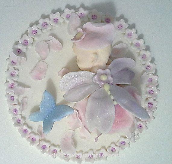 Baby Cake Topper  Sugar Fairy Baby Shower, Sugar Fondant & Royal Icing