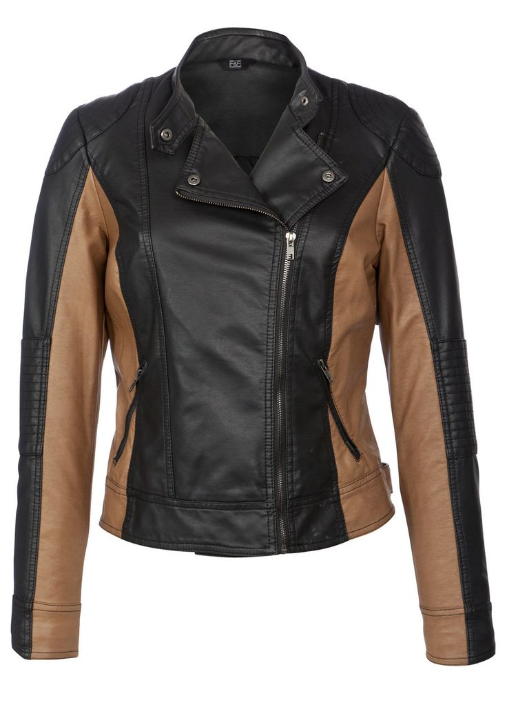 F&F Colour Block Leather-Look Biker Jacket
