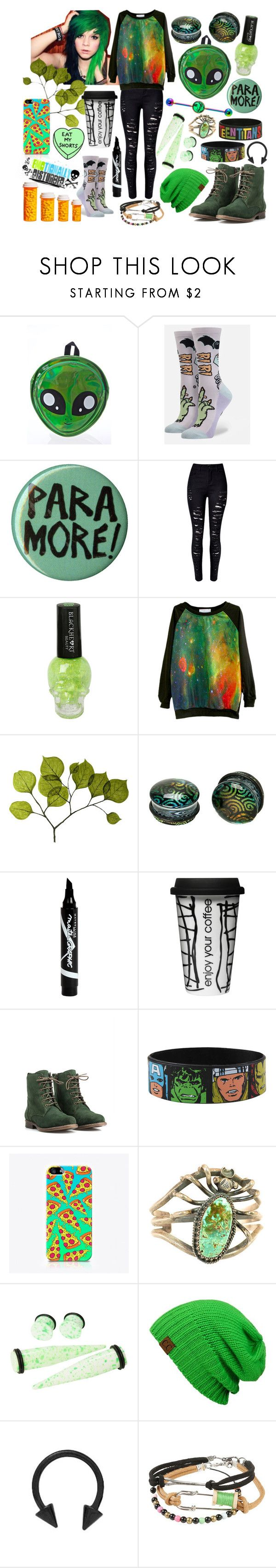 """Mean Green Fightin' Machine"" by xxx-marshmallow-of-death-xxx ❤ liked on Polyvore featuring Love Quotes Scarves, Miss Me, Comeco, Stance, Hot Topic, Dot & Bo, Maybelline, JJ Footwear, Marvel and The Small Print."