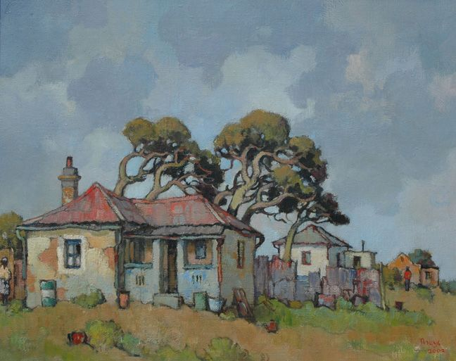 Conrad Theys (b 1940) House with windswept trees - 2002 Oil on canvas