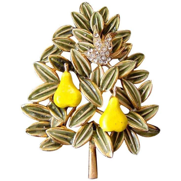 Cadoro Faux Diamond Partridge Bird in an Enamel Pear Tree Christmas Brooch Pin    $295