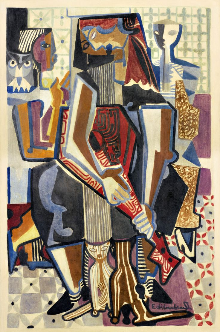 "kafkasapartment: "" Figuras com Bandolim, Coruja e Gatos (c. 1950). Emiliano di Cavalcanti. Oil and graphite on canvas """