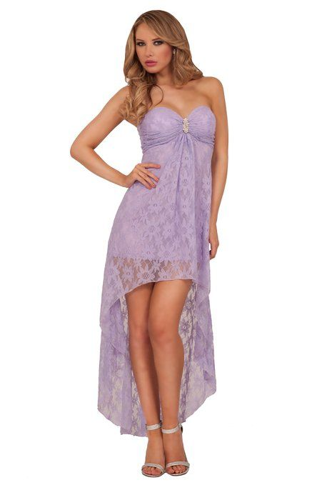 Springtime brings flowers and also our lovely floral lace high-low beauty! Amazing floral lace strapeless high-low dress with a mini under-dress is a Spring time must! A sweet strapless with floral lace dress featuring a sweetheart padded bust defined by a rhinestone broach.
