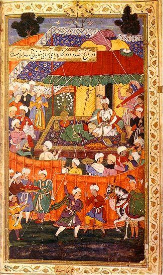 A Miniature from Baburnama, Memoirs of Babur (1483-1530)