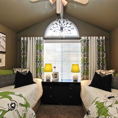 bedroom by Robeson Design (actually a DORM room! WOW)