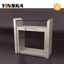 moderno de vidrio cubierta de mármol mesa consola de base de travertino