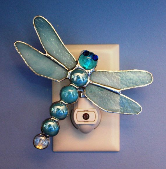 AquaJeweled Stained Glass Dragonfly Night by stainedglassturtle, $32.95
