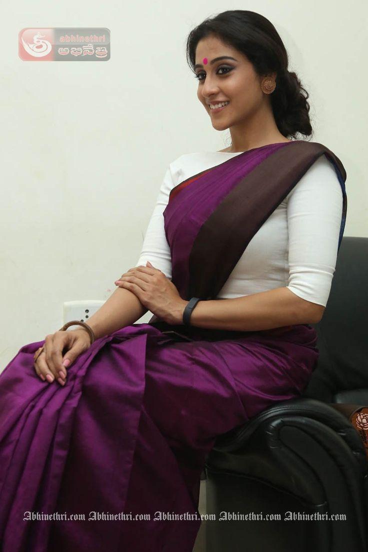 Regina Cassandra Looking Hot and Beautiful in Bengali Getup Purple Saree & White Blouse…