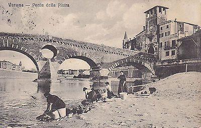 8187) Verona, Ponte Della Pietra, Lavandaie Al Lavoro.