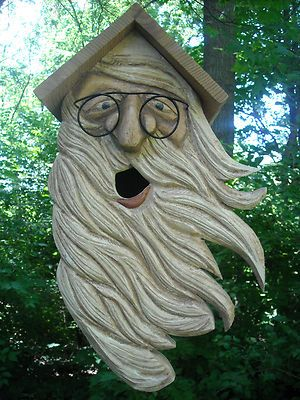 """BUILT WITH AVID BIRD LOVERS & GARDENERS IN MIND, HERE FOR AUCTION IS THIS HAND CRAFTED OUT OF PINE & AROMATIC CEDAR , BIRD HOUSE. THE ITEM MEASURES APPROX 15 ./5/8 INCHES TALL. THE ENTRANCE """"HIS MOUTH"""" IS MADE FOR SMALL TO MEDIUM SIZE BIRDS. EASY ACCESS ON THE SIDE SHOWN ON PIC # 2 GLASSES ARE MADE OUT OF WIRE."""