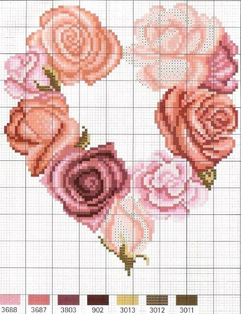 Schemi a punto croce gratuiti per tutti: Schemi punto croce: cuore di rose rosa