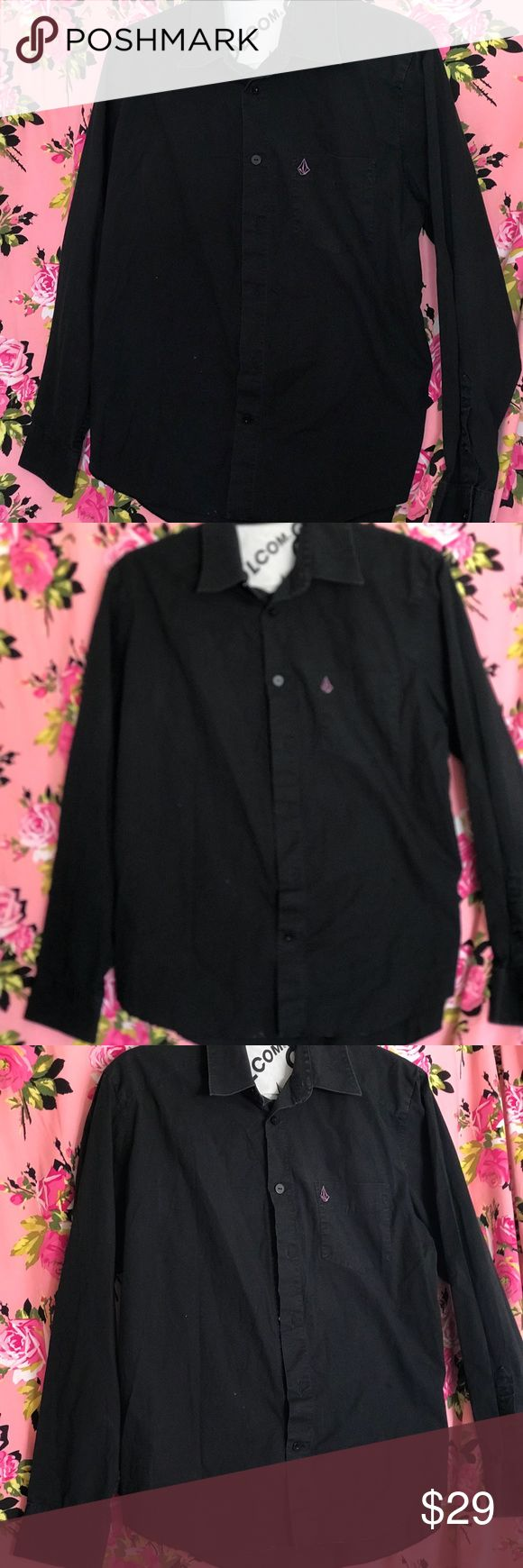 Black Volcom purple stone long sleeve button up L Boys large black long sleeve button up shirt dressy church wedding black tie Volcom with purple embroidered stone emblem collar style Volcom Shirts & Tops Button Down Shirts