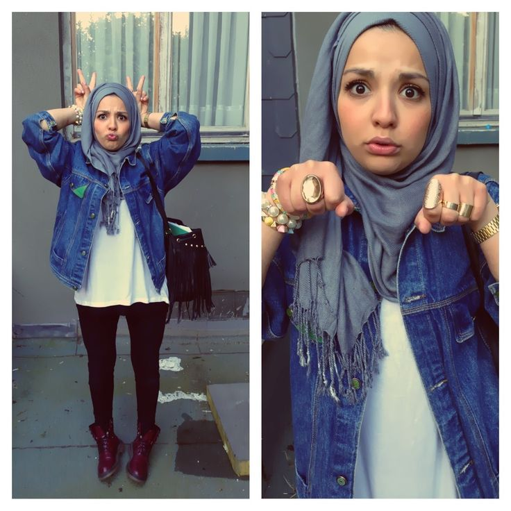 Cute petite #hijabi. Kawaii! Denim jacket, leggings, boots, oversized purse and gold rings