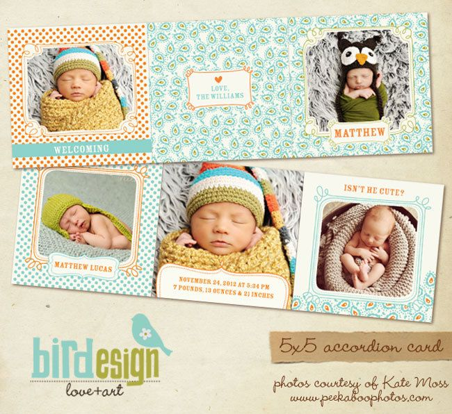 INSTANT DOWNLOAD 5x5 Accordion card Birth por birdesign en Etsy
