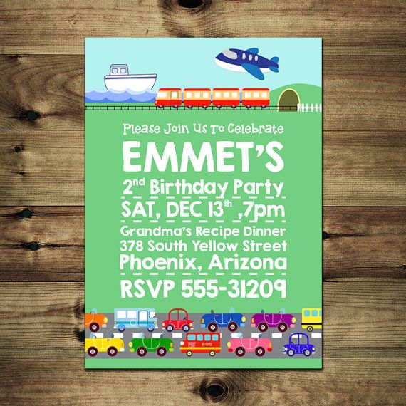 Transportation Birthday Invitation Bday_inv_030 by PapierMignonID