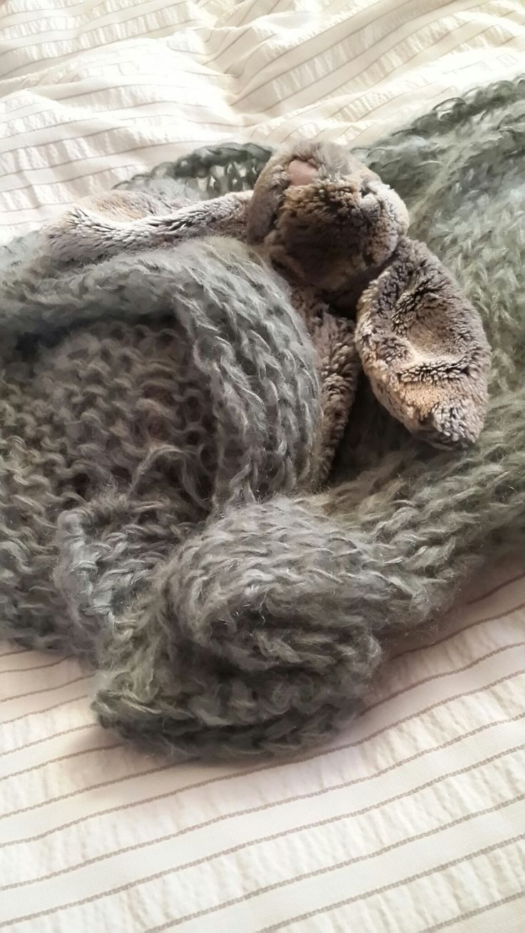 First knitted mohair baby wrap.
