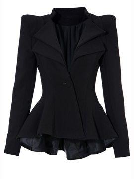 Black Lapel One Button Women's Blazer
