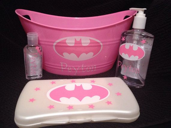 Batman+Baby+Gift+Set+in+Pink+for+Baby+by+HundredAcreTreasures,+$25.00