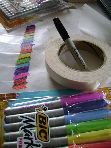 "use markers on masking tape to make ""washi"" tape - lay tape on wax paper to design, then peel up when ready to use."