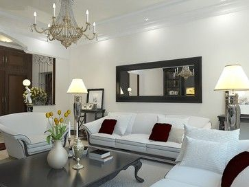 A Long Black Framed Mirror Above The Sofa Complements Sophisticated Style Of Living Room