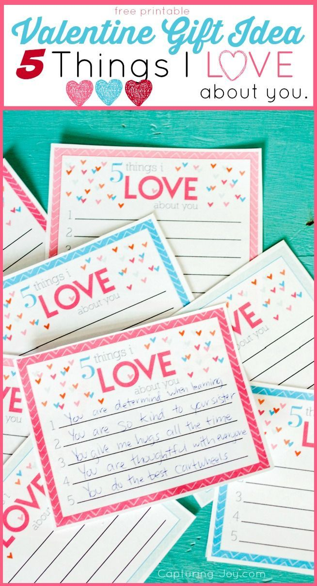 Valentine's Gift idea and printable. 3 Things I love about you Valentine idea. www.kristenduke.com