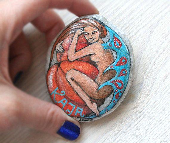 Custom made painted stone ... by SkadiaArt