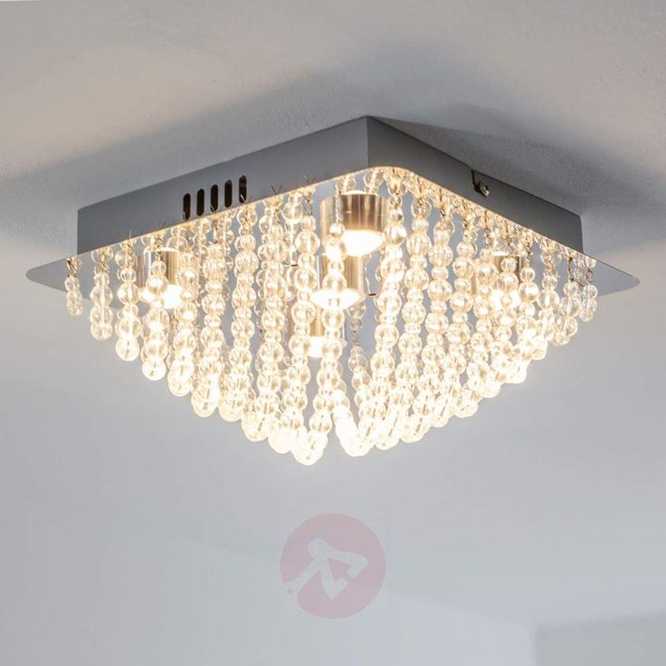 Funklende taklampe Iva med glasskrystaller og LED-9625080-30