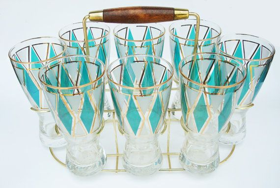 Set 8 MidCentury Beer Glasses w/ Storage Caddy by DezynerDigs, $215.00