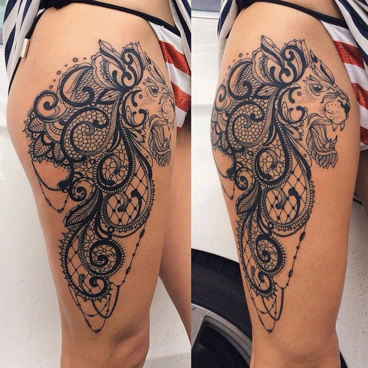 Super cool baroque lace lion thing tat
