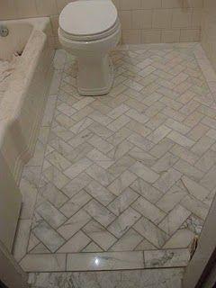 marble herringbone floor - LOVE