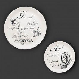 """""""You're mad, bonkers, completely off your head! But I'll tell you a secret... All the best people are."""" The Mad Hatter and his unique wisdom. This decorative fine bone china plate set design is inspired by Lewis Carroll's story of 'Alice in Wonderland' and 'Alice through the looking glass' and has been originally designed and illustrated by Eleanor Stuart. Each illustration is silk-screen printed and decorated by hand on to a beautiful coupe fine bone china plate in ..."""