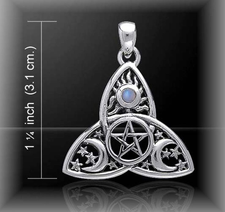 Silver Celtic Triquetra Moonstone Pentacle Tri Moon