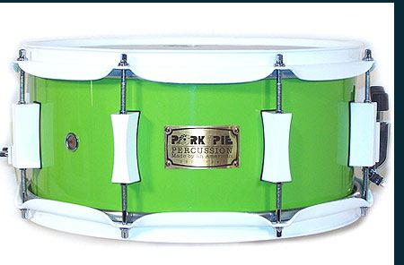 Avocado Dip Hi Gloss Snare Drum USA hard rock maple shell Pork Pie precision cut edges Pork Pie's progressive ply design TM Labor intensive (12) step paint process 2.3 mm heavy duty hoops Pork Pie exclusive lugs Remo heads No assembly required