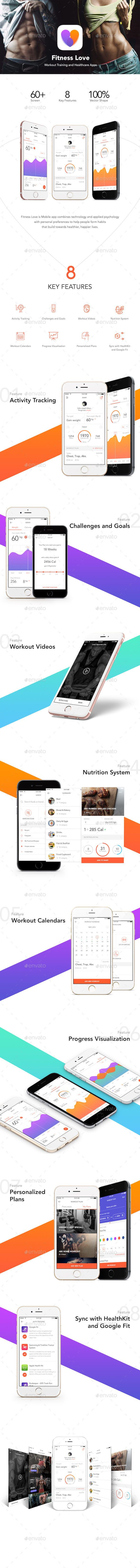 Fitness Love – Workout Training and Healthcare App UI Kit - User Interfaces Web Element Template PSD. Download here: http://graphicriver.net/item/fitness-love-workout-training-and-healthcare-app-ui-kit/16553395?ref=yinkira