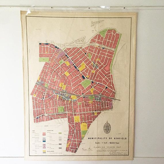 Map  Vintage Map  1959 Ashfield Map  Planning Map  Mid