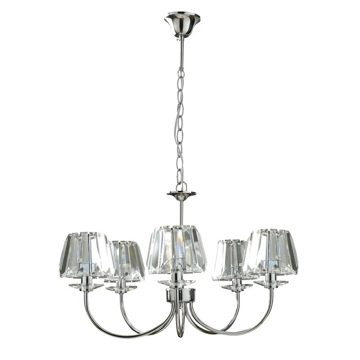 Capri Chrome 5 Light Chandelier with Clear Glass Shades at LAURA ASHLEY