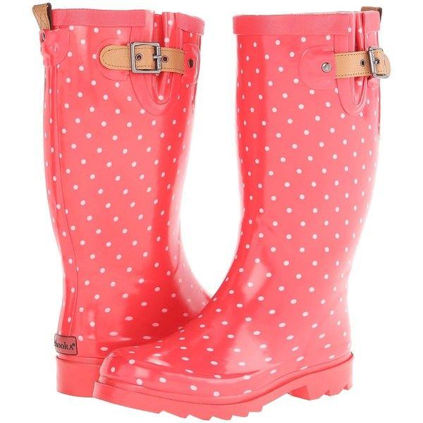 Chooka Classic Dot Rain Boot Women's Rain Boots, Red (2.845 RUB) ❤ liked on Polyvore