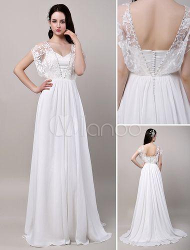 Decote V em coração Com Cauda Com renda De gaze Vestido de noiva - Milanoo.com