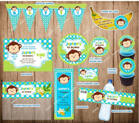 Blue Mod Monkey Birthday Party Package Boy Mod by CutePartyFairy