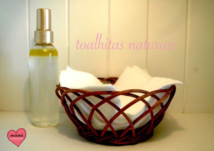 Toalhitas naturais feitas com azeite e óleo de amêndoas doces.