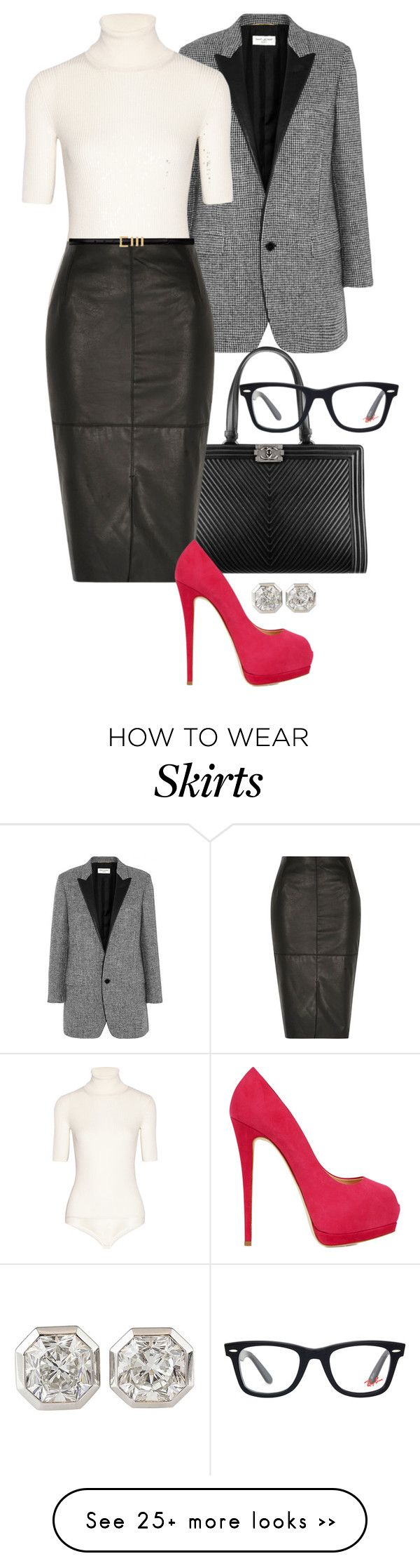 """'Leather Skirt In The Office' - Dorsianne."" by foreverforbiddenromancefashion on Polyvore featuring Yves Saint Laurent, Theory, Chanel, River Island, Giuseppe Zanotti, Tiffany & Co. and Ray-Ban"