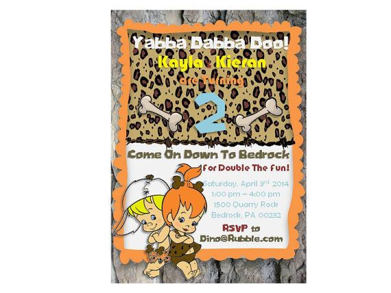 cd7b8ff0a3542f7573f06d05660ba70c twin birthday birthday invitations 104 best twins 1st birthday images on pinterest,Flintstones Birthday Invitations