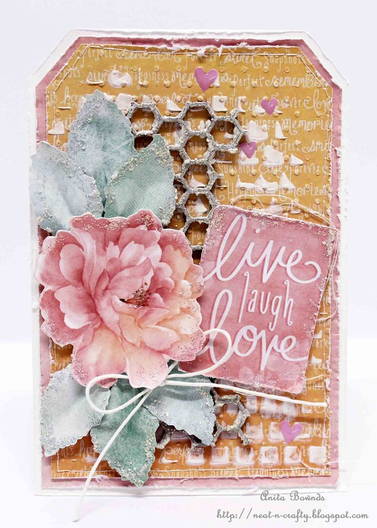 """Live Laugh Love"" tag - Anita Bownds DT Kaisercraft Cherry Blossom Collection - Tags."