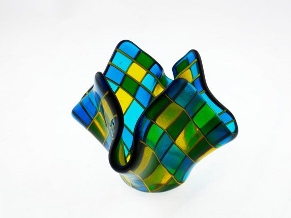 Green-Blue-Yellow-II. Glass. by Jelena on Etsy