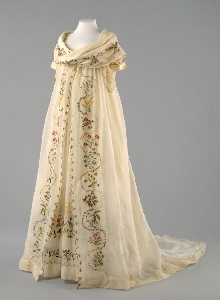 Ensemble (Dress, Over-Dress, Fichu): ca. 1798, European (probably), cotton, silk.  Interesting how dramatically styles changed in this decade!