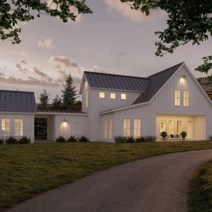 222 best modern farmhouse images on pinterest modern for Modern farmhouse architecture plans