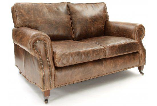 Hepburn brown leather vintage sofa with stud arms for Brown leather couch with studs