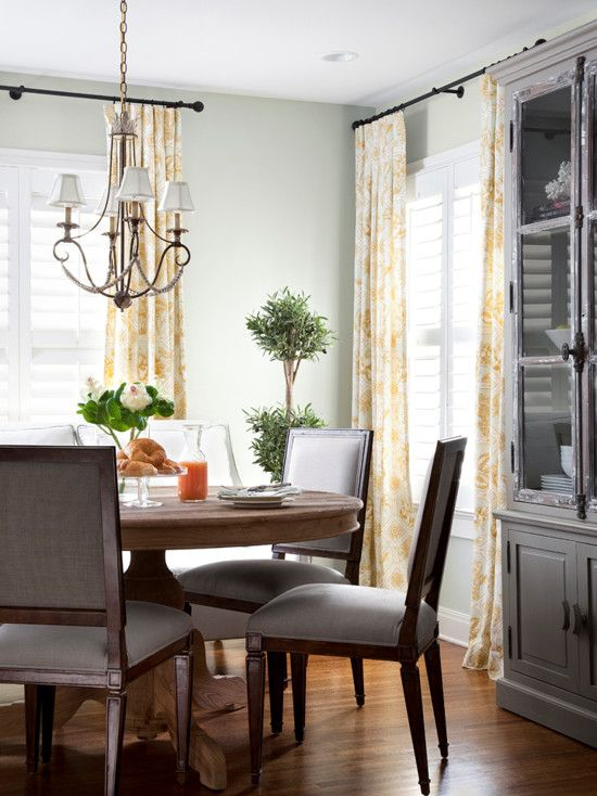 Plantation Shutters And Patterned Curtains Dining Room