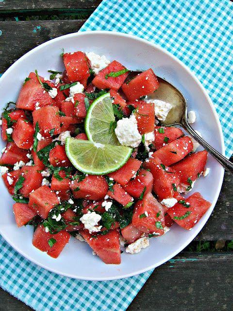 Watermelon, Feta & Mint Salad: Feta Mint, Watermelon Feta, Salad Recipes, Mint Salad, Feta Salad, Summer Salad, Watermelon Mint, Bowls, Oil